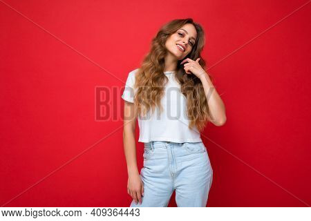 Portrait Of Young Beautiful Smiling Hipster Woman In Trendy Outfit. Sexy Carefree Female Person Posi