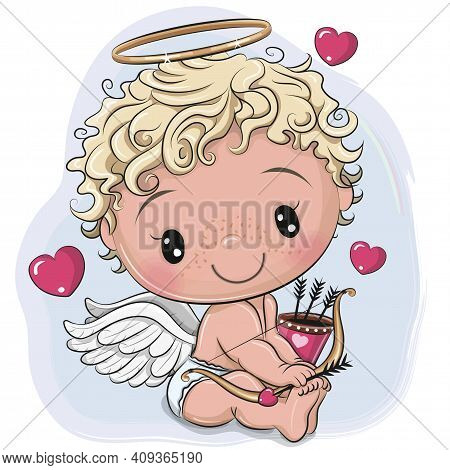 Cute Cartoon Cupid With Bow And Arrows On A Blue Background