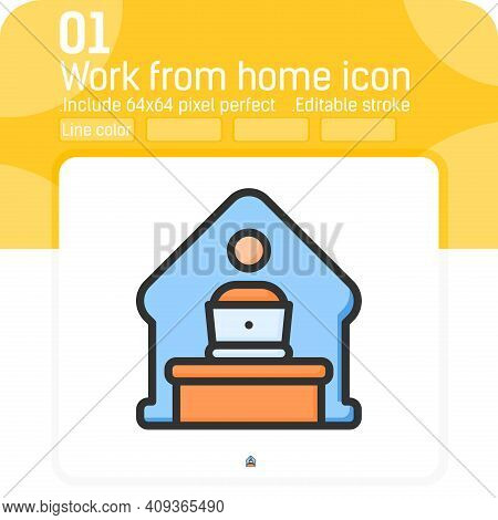 Home Office Remote Work Icon Concept With Line Color Style Isolated On White Background. Vector Line