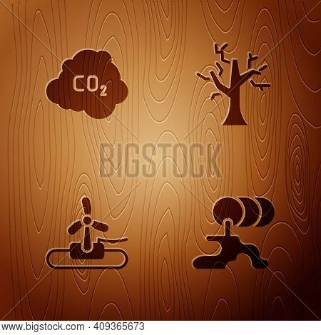 Set Barrel Oil Leak, Co2 Emissions In Cloud, Wind Turbine And Withered Tree On Wooden Background. Ve