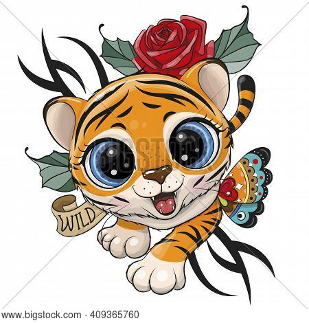 Cute Tattoo Design Tiger Is Creeping Up Isolated On A White Background