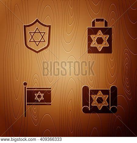 Set Torah Scroll, Shield With Star Of David, Flag Israel And Shopping Bag Star David On Wooden Backg