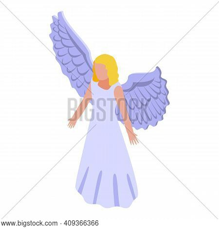 Heaven Angel Icon. Isometric Of Heaven Angel Vector Icon For Web Design Isolated On White Background