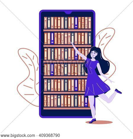 Young Woman Chooses Books In An Online Bookstore On A Smartphone Online Mobile Library Concept Famal