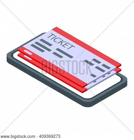 Phone And Plane Tickets Icon. Isometric Of Phone And Plane Tickets Vector Icon For Web Design Isolat