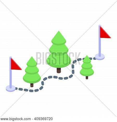Itinerary Route Icon. Isometric Of Itinerary Route Vector Icon For Web Design Isolated On White Back