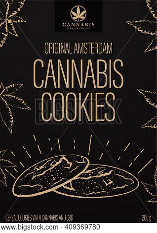 Cannabis Cookies, Black Package Design In Doodle Style With Cannabis Cookies And Marijuana Leafs. Bl