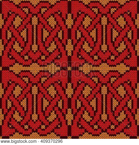 Knitting Seamless Vector Pattern As A Fabric Texture In Red And Orange Color As A Fabric Texture