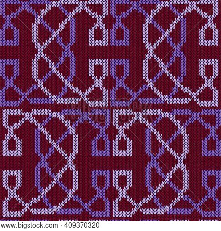 Ornamental Knitting Seamless Vector Pattern In Violet And Magenta Hues As A Fabric Texture