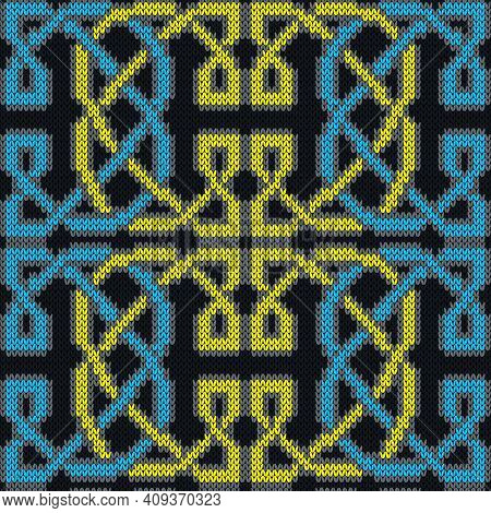 Seamless Knitted Ornate Vector Pattern In Blue, Yellow And Grey Colors As A Fabric Texture