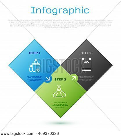 Set Line Full Dustbin, Plastic Bag And Volcano Eruption With Lava. Business Infographic Template. Ve