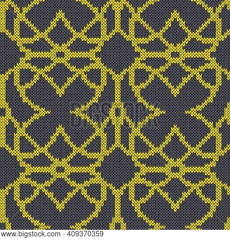Geometrical Ornate Seamless Knitted Vector Pattern As A Fabric Texture In Grey And Yellow Colors
