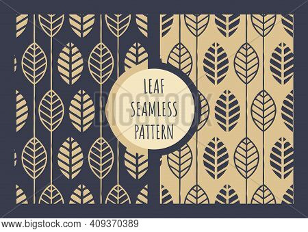 Leaf Geometric Vector Seamless Pattern. Golden And Blue Leaves Print For Paper Or Textile.