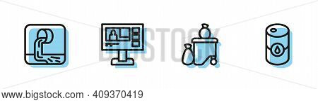 Set Line Full Dustbin, Wastewater, Television Report And Barrel Oil Icon. Vector