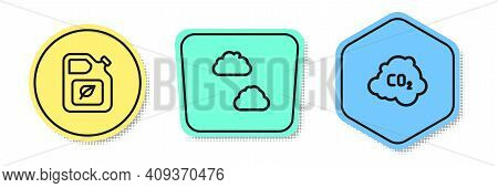 Set Line Bio Fuel Canister, Cloud And Co2 Emissions In Cloud. Colored Shapes. Vector