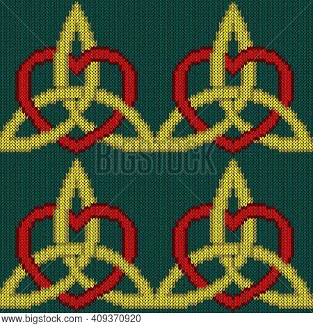 Knitting Seamless Vector Pattern As A Fabric Texture In Turquoise, Yellow And Red Color As A Fabric