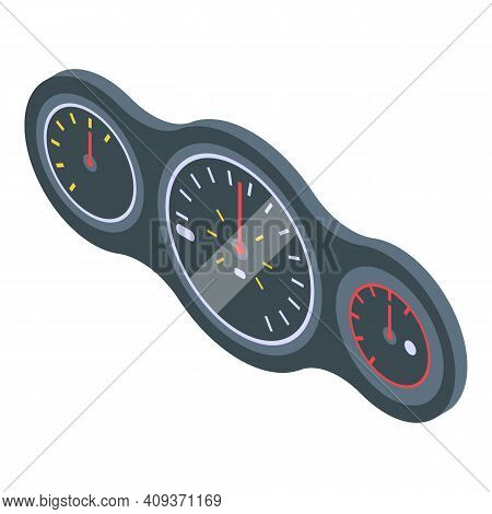 Gauge Car Dashboard Icon. Isometric Of Gauge Car Dashboard Vector Icon For Web Design Isolated On Wh