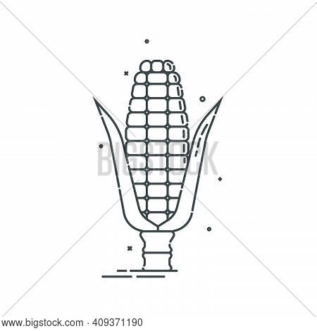 Corn On White Background. Organic Food. Healthful Product. Young Ear Of Maize With Leaves. Healthy E