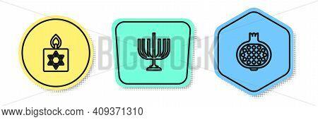 Set Line Burning Candle, Hanukkah Menorah And Pomegranate. Colored Shapes. Vector