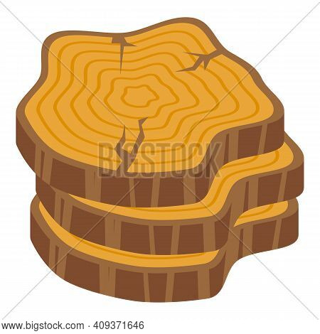 Tree Trunk Slices Icon. Isometric Of Tree Trunk Slices Vector Icon For Web Design Isolated On White