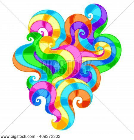Background With Abstract Colored Swirls. Colorful Shiny Bright Curls.