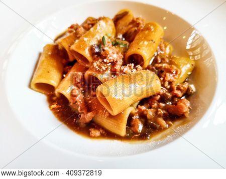 Tasty pasta, Italian meat sauce pasta on the table