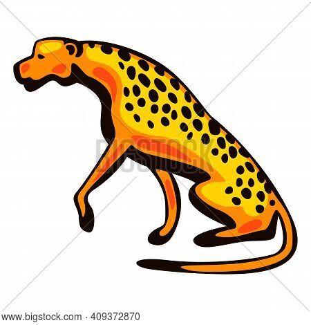 Illustration Of Stylized Cheetah. African Savanna Wild Animal.