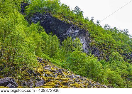 Cliff Rocks Moss Norwegian Nature Through Mountains Forests Utladalen Norway.