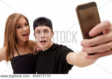 Rap Dancer With His Sexy Girlfriend Making Selfie