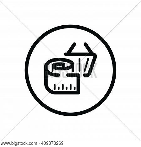 Measuring Meter And Shopping Basket. Product Dimensions. Commerce Outline Icon In A Circle. Isolated