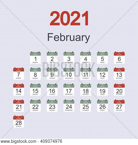 Monthly Calendar Template For February 2021 With Daily Date. Week Starts On Sunday. Flat Style. Vect