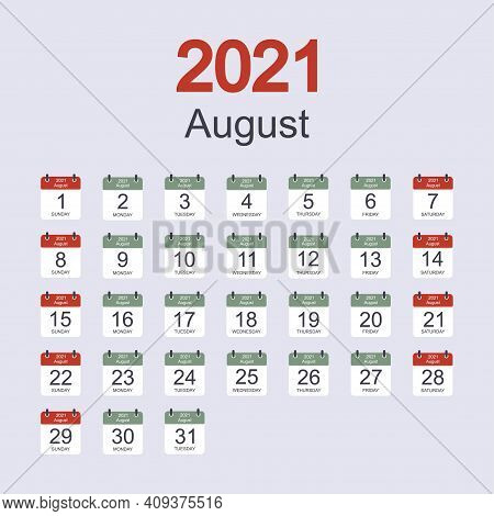 Monthly Calendar Template For August 2021 With Daily Date. Week Starts On Sunday. Flat Style. Vector