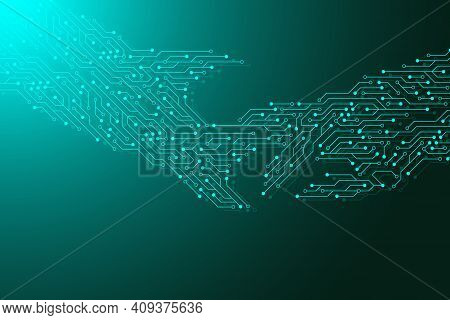 Computer Motherboard Background With Circuit Board Electronic Elements. Electronic Texture For Compu