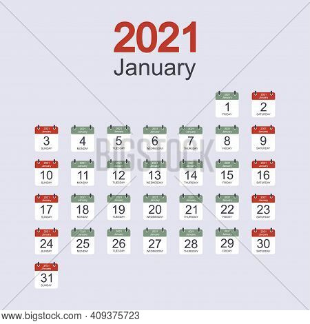 Monthly Calendar Template For January 2021 With Daily Date. Week Starts On Sunday. Flat Style. Vecto