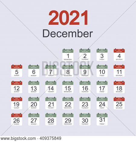 Monthly Calendar Template For December 2021 With Daily Date. Week Starts On Sunday. Flat Style. Vect