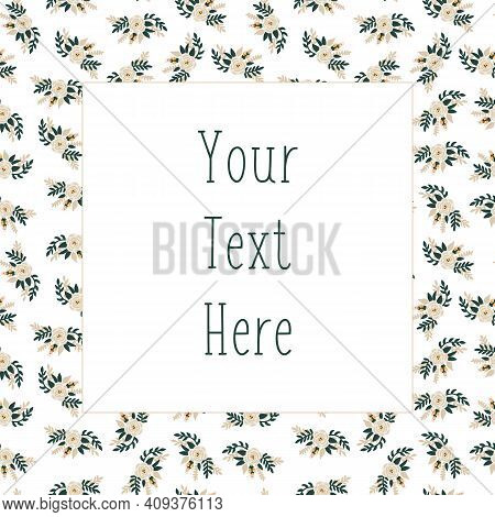 Floral Vector Card Template Flat White Rose Flowers Cute Scandinavian Style. Square With White Flora