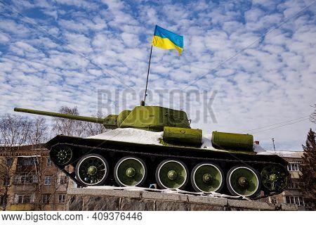 Khmelnytsky. Ukraine - February 21, 2021:  Soviet Tank T-34 During The Second World War. This Monume