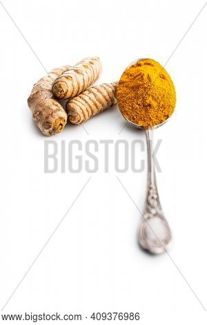 Indian turmeric powder and root. Turmeric spice. Ground turmeric isolated on white background.