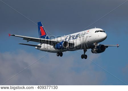 Istanbul, Turkey - March 30, 2019: Onur Air Airbus A320 Tc-oda Passenger Plane Arrival And Landing A