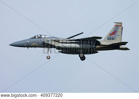 Leeuwarden, Netherlands - April 14, 2015: United States Air Force Usaf Mcdonnell Douglas F-15c Eagle