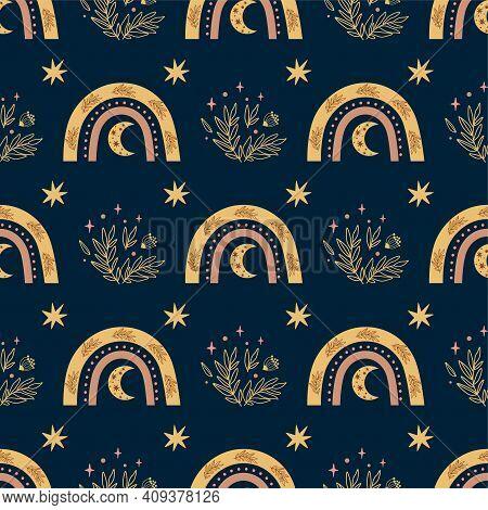 Sweet Dreams Pattern Night Time Boho Rainbow, Moon, Stars. Bedtime Dark Background. Bohemian Botany