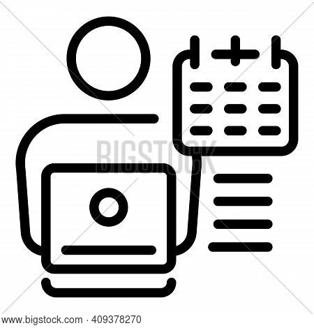 Part Time Worker Icon. Outline Part Time Worker Vector Icon For Web Design Isolated On White Backgro
