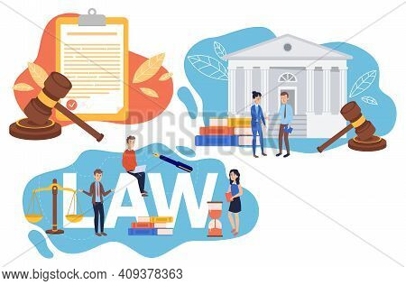 Collection Of Law Justice Composition Concept. Weights, Courthouse, Lawyer And Lawyer Hammer Symbol.