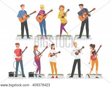 People Street Musicians Playing Musical Instruments Set, Live Performance Concept Cartoon Style Vect