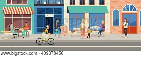 People Sitting At Outdoor Cafe And Walking Down The Street At Summer Time. Cartoon Character Flat Ve