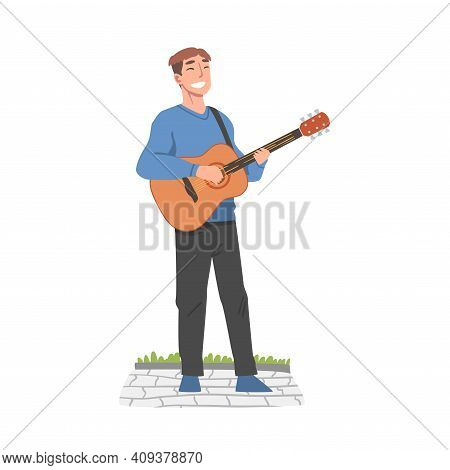 Cheerful Male Street Guitarist Character Playing Acoustic Guitar, Live Performance Concept Cartoon S