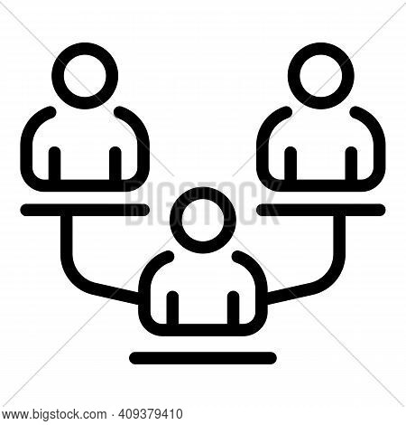 Human Cooperation Icon. Outline Human Cooperation Vector Icon For Web Design Isolated On White Backg