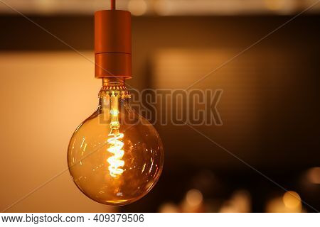 New Generation Incandescent Lamp. Warm Light In The Interior, Decorative Cozy Lamp.