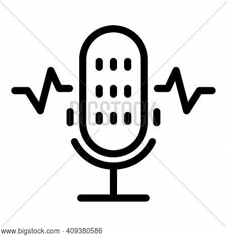 Recording Microphone Icon. Outline Recording Microphone Vector Icon For Web Design Isolated On White