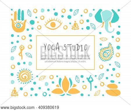 Yoga Studio Banner Template With Space For Text, Ayurveda, Traditional Medicine, Meditation Class An